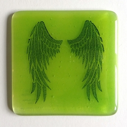 Angel Wings Coaster - indigo on green blend