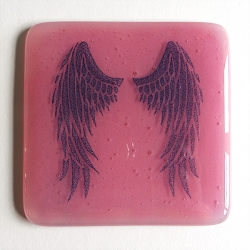 Angel Wings Coaster - indigo on pink blend