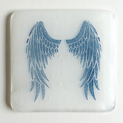 Angel Wings Coaster - indigo on white blend
