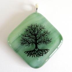 Tree of Life pendant on green glass - diamond shape