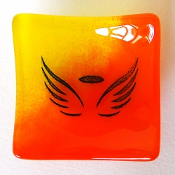 Angel wings bowl in orange and yellow glass blend
