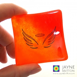 Angel wings bowl in red and orange blend glass