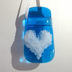 Turquoise glass light catcher with white heart