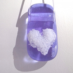 Violet and white heart light catcher