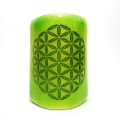 Flower of Life Sconce - mini light and candle screen - green blend
