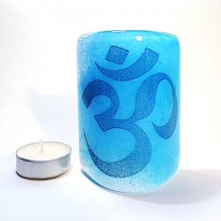 Om Sconce - mini light and candle screen - blue blend