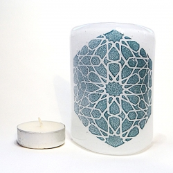 Alhambra Stars Sconce - mini light and candle screen - white blend