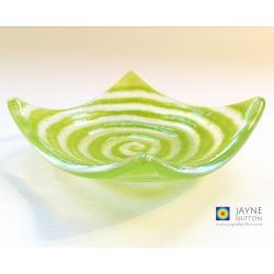 Green spiral tealight bowl