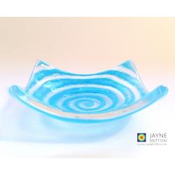Light blue spiral tealight bowl