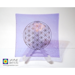Platinum Flower of Life Chakra Balancing glass plate - crown chakra - violet purple