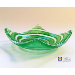 Green spiral tealight bowl - deep jade green