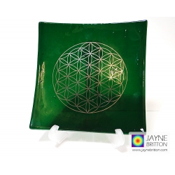 Platinum Flower of Life Chakra Balancing glass plate - heart chakra - deep green