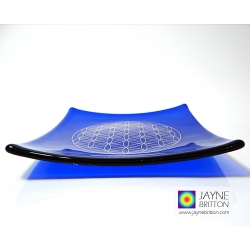 Platinum Flower of Life Chakra Balancing glass plate - third eye - Indigo blue