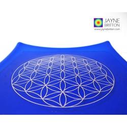 Platinum Flower of Life Chakra Balancing glass plate - third eye - Indigo blue