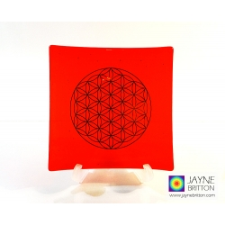 Platinum Flower of Life Chakra Balancing glass plate - sacral chakra - orange