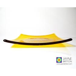 Platinum Flower of Life Chakra Balancing plate - solar plexus chakra - yellow