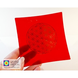 Platinum Flower of Life Chakra Balancing glass plate - base chakra - red