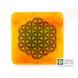Flower of Life coaster - deep blue on yellow and orange blend