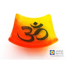 Om bowl in yellow and orange blended glass