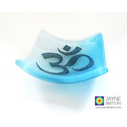 Om bowl in blue and white blended fused glass