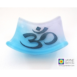 Om bowl in blue and violet purple blended fused glass