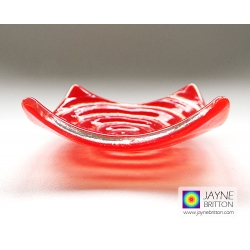 Red spiral tealight bowl, ring dish