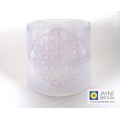 Flower of Life Sconce - small size - curved light and candle screen - white and violet