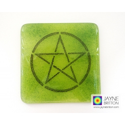 Pentacle coaster - black on green and indigo blue