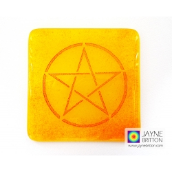 Pentacle coaster - red on yellow and orange blend
