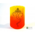 Ganesh Sconce, mini light & candle screen, yellow,  orange blended background, indian deity, ganesha, meditation, fused glass, meditation