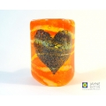 Bubbly Heart Sconce - mini light and candle screen - orange yellow blend