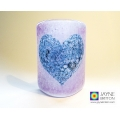 Bubbly Heart Sconce - mini light and candle screen - violet blend - option 2
