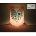 Bubbly Heart Sconce - mini light and candle screen - pink blend - option 1