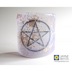 Pentacle Sconce - small fused glass screen - violet, silver mica