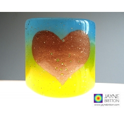 Heart Sconce - small fused glass panel - sparkling gold mica
