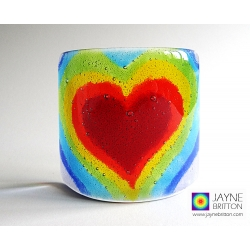 Hearscape Sconce - fused glass panel - rainbow chakra colours