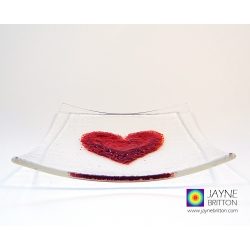 Red heart plate, fused glass plate with raised textured red heart
