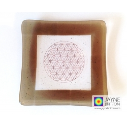 Flower of Life fused glass plate