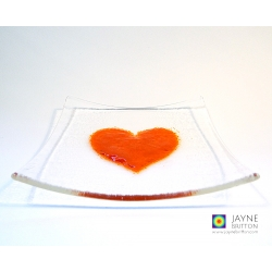 Orange heart plate, fused glass plate with raised textured orange heart