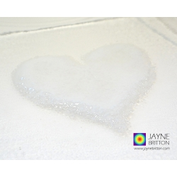 White heart plate, fused glass plate with raised textured white heart