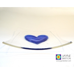 indigo blue heart plate, fused glass plate with raised textured indigo blue heart