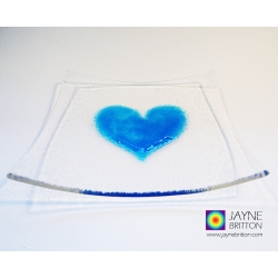Turquoise blue heart plate, fused glass plate with raised turquoise blue heart
