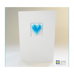 Fused glass greeting card - turquoise blue heart
