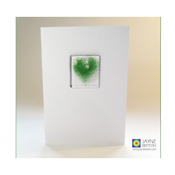 Fused glass greeting card - green heart