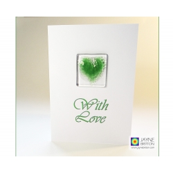 Green fused glass heart greeting card - with love