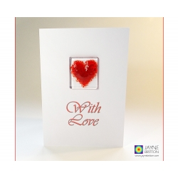 Fused glass greeting card - red heart - with love