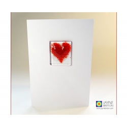 Fused glass greeting card - red heart