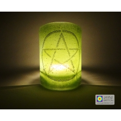 Pentacle sconce - black on green and indigo blue