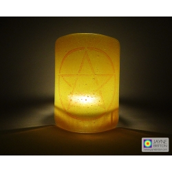 Pentacle sconce - red on yellow and orange