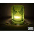 Angel Wings Sconce - mini light and candle screen - green blend